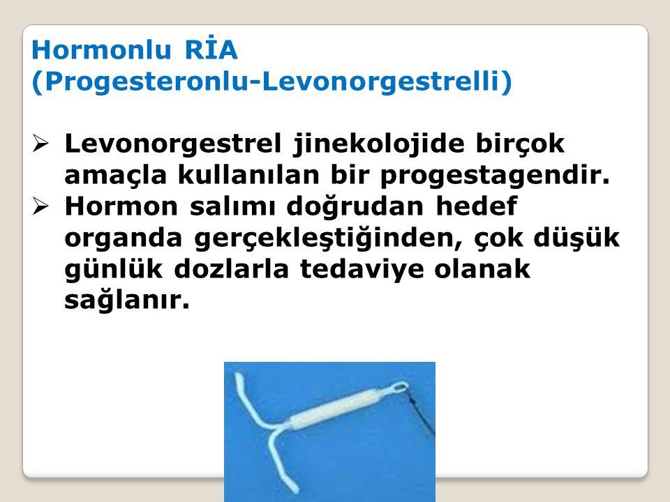 Hormonlu RİA (Progesteronlu-Levonorgestrelli)  Levonorgestrel jinekolojide birçok amaçla kullanılan bir progestagendir.