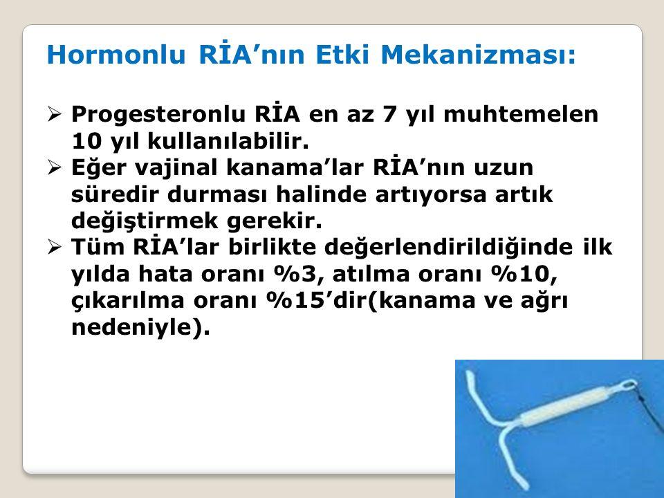Hormonlu RİA'nın Etki Mekanizması:  Progesteronlu RİA en az 7 yıl muhtemelen 10 yıl kullanılabilir.