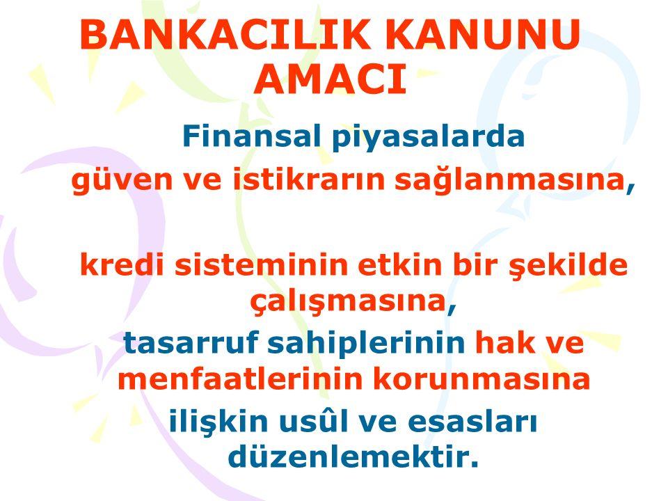 BANKACILIK KANUNU KAPSAMI Türkiye'de kurulu Mevduat bankaları, Katılım bankaları, Kalkınma ve yatırım bankaları, Yurt dışında kurulu bu nitelikteki kuruluşların Türkiye'deki şubeleri, Finansal holding şirketleri, Türkiye Bankalar Birliği, Türkiye Katılım Bankaları Birliği, Bankacılık Düzenleme ve Denetleme Kurumu, Tasarruf Mevduatı Sigorta Fonu ve bunların faaliyetleri bu Kanun hükümlerine tâbidir.