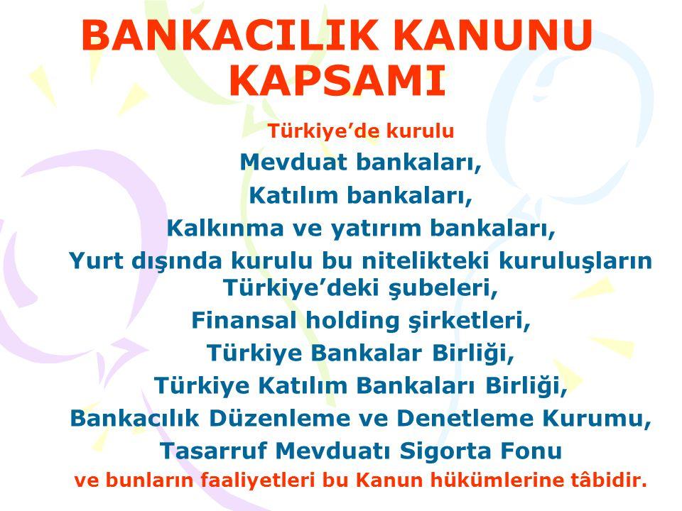 MEVDUAT BANKALARI -KATILIM BANKALARI- KALKINMA VE YATIRIM BANKALARI- FİNANSAL HOLDİNG ŞİRKETLER TÜRKİYE BANKALAR BİRLİĞİ(TBB) http://www.tbb.org.tr TÜRKİYE KATILIM BANKALARI BİRLİĞİ(TKBB) http://www.tkbb.org.tr BANKACILIK DÜZENLEME VE DENETLEME KURUL(M)U (BDDK) http://www.bddk.org.tr TASARRUF MEVDUATI SİGORTA FONUNU (TMSF) http://www.tmsf.org.tr (FON) http://www.tbb.org.trttp://www.tkbb.org.trhttp://www.bddk.org.trhttp://www.tmsf.org.tr