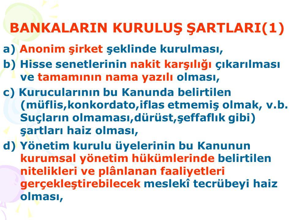 BANKALARIN KURULUŞ ŞARTLARI (2) e) Öngörülen faaliyet konularının plânlanan malî, yönetim ve organizasyon yapısı ile uyumlu olması, f) Nakden ve her türlü muvazaadan âri olarak ödenmiş sermayesinin en az 30 milyon Yeni Türk Lirası olması (yatırım ve kalkınma bankalarında 20 milyon Yeni Türk Lirası'ndan az olamaz), g) Ana sözleşmesinin bu Kanun hükümlerine uygun olması,