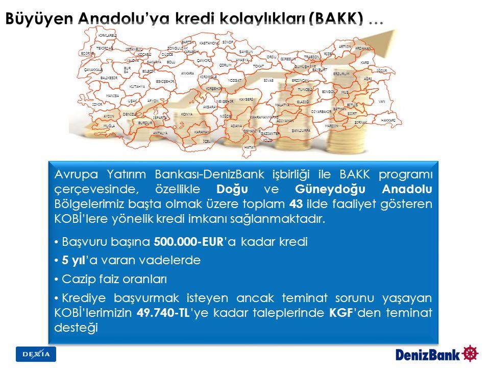 Büyüyen Anadolu'ya kredi kolaylıkları (BAKK) … Avrupa Yatırım Bankası-DenizBank işbirliği ile BAKK programı çerçevesinde, özellikle Doğu ve Güneydoğu Anadolu Bölgelerimiz başta olmak üzere toplam 43 ilde faaliyet gösteren KOBİ'lere yönelik kredi imkanı sağlanmaktadır.