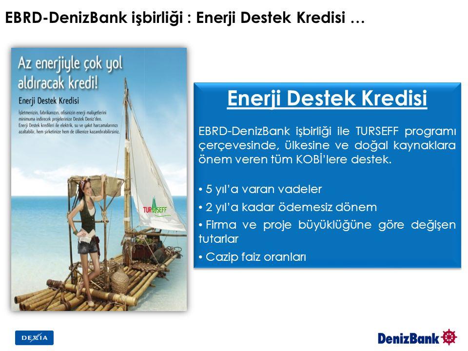 EBRD-DenizBank işbirliği : Enerji Destek Kredisi … Enerji Destek Kredisi EBRD-DenizBank işbirliği ile TURSEFF programı çerçevesinde, ülkesine ve doğal kaynaklara önem veren tüm KOBİ'lere destek.
