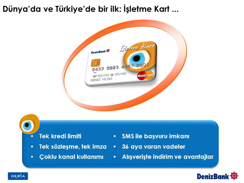 Dünya'da ve Türkiye'de bir ilk: İşletme Kart... Tek kredi limiti Tek sözleşme, tek imza Çoklu kanal kullanımı SMS ile başvuru imkanı 36 aya varan vade