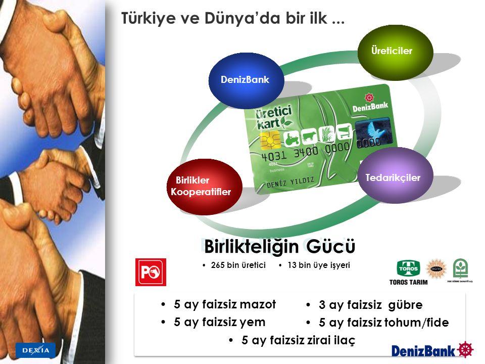 Türkiye ve Dünya'da bir ilk... Birlikler Kooperatifler Birlikteliğin Gücü Üreticiler Tedarikçiler DenizBank 265 bin üretici 5 ay faizsiz mazot 5 ay fa