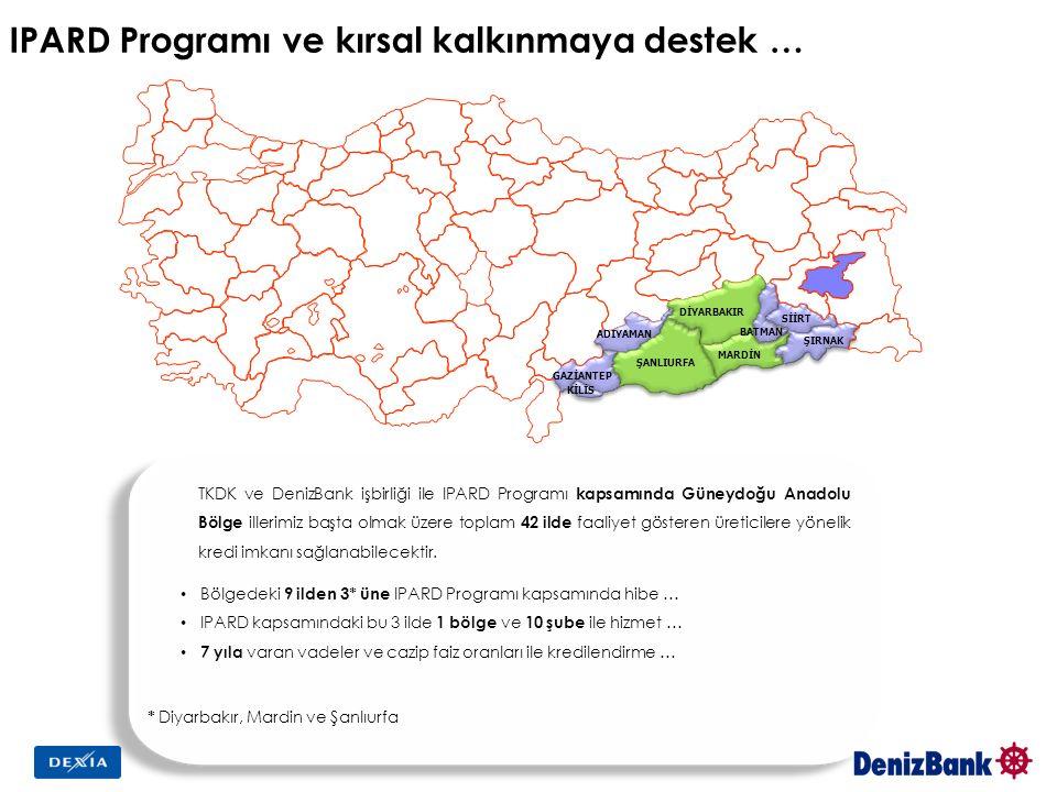 ŞANLIURFA ADIYAMAN MARDİN DİYARBAKIR SİİRT ŞIRNAK BATMAN GAZİANTEP KİLİS TKDK ve DenizBank işbirliği ile IPARD Programı kapsamında Güneydoğu Anadolu Bölge illerimiz başta olmak üzere toplam 42 ilde faaliyet gösteren üreticilere yönelik kredi imkanı sağlanabilecektir.