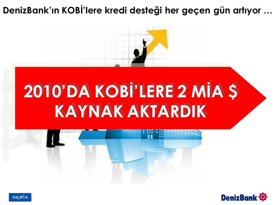 DenizBank'ın KOBİ'lere kredi desteği her geçen gün artıyor … 2010'DA KOBİ'LERE 2 MİA $ KAYNAK AKTARDIK 2010'DA KOBİ'LERE 2 MİA $ KAYNAK AKTARDIK