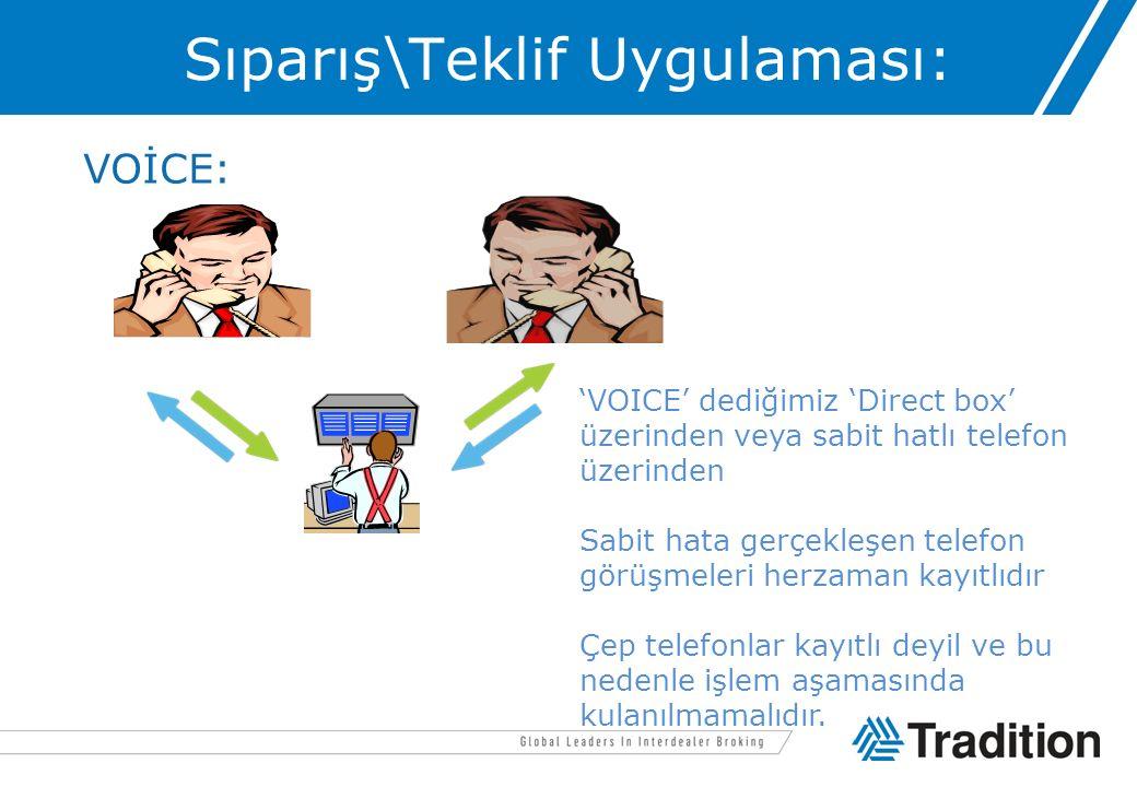 Sıparış\Teklif Uygulaması: VOİCE: 'VOICE' dediğimiz 'Direct box' üzerinden veya sabit hatlı telefon üzerinden Sabit hata gerçekleşen telefon görüşmele