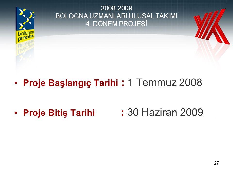 27 Proje Başlangıç Tarihi : 1 Temmuz 2008 Proje Bitiş Tarihi : 30 Haziran 2009 2008-2009 BOLOGNA UZMANLARI ULUSAL TAKIMI 4.