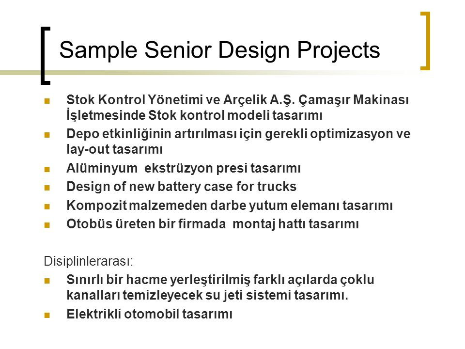 Sample Senior Design Projects Stok Kontrol Yönetimi ve Arçelik A.Ş.