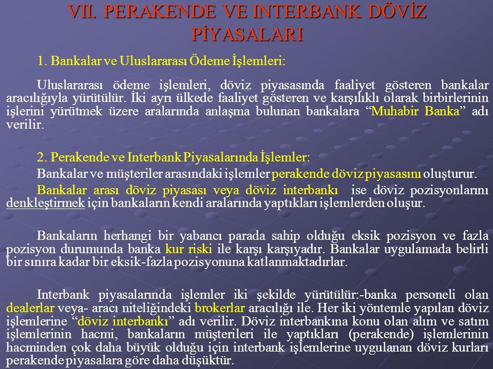 VII.PERAKENDE VE INTERBANK DÖVİZ PİYASALARI 1.