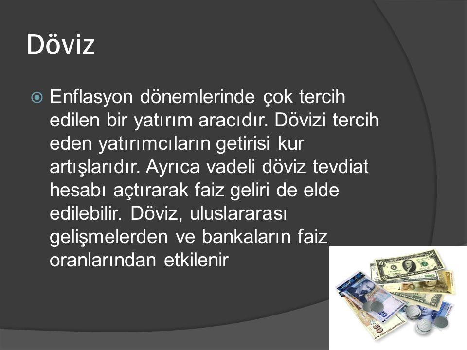 Döviz  Enflasyon dönemlerinde çok tercih edilen bir yatırım aracıdır.