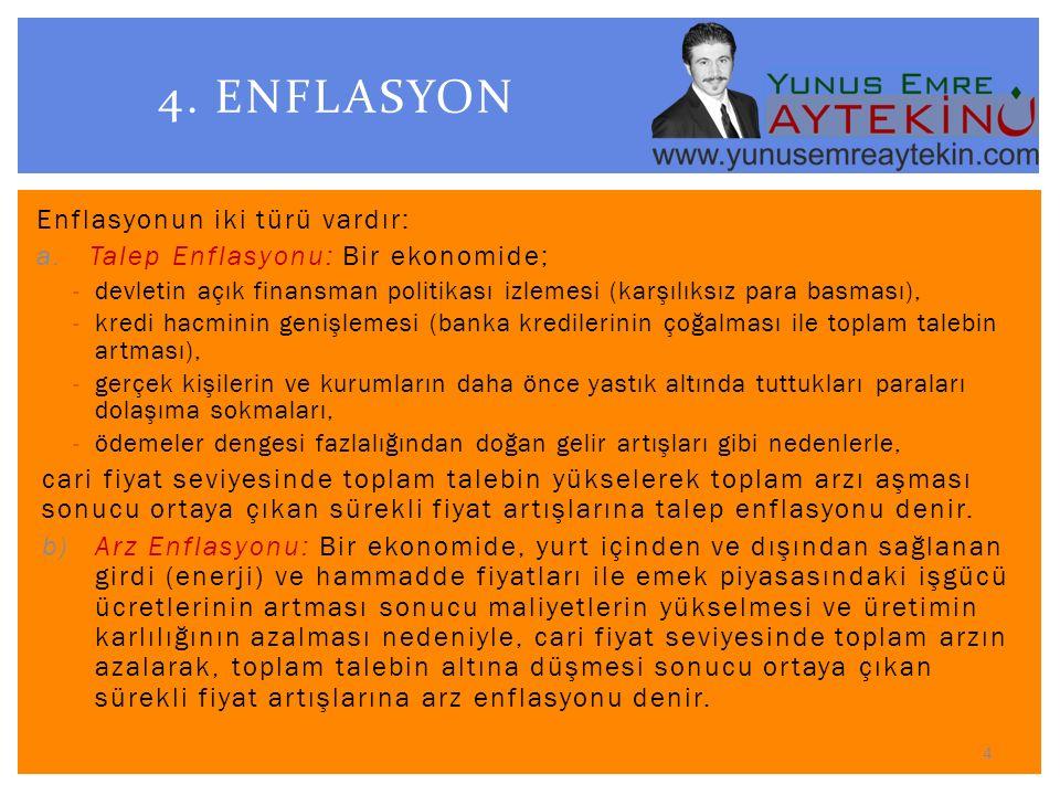 Enflasyonun iki türü vardır: a.Talep Enflasyonu: Bir ekonomide; -devletin açık finansman politikası izlemesi (karşılıksız para basması), -kredi hacmin
