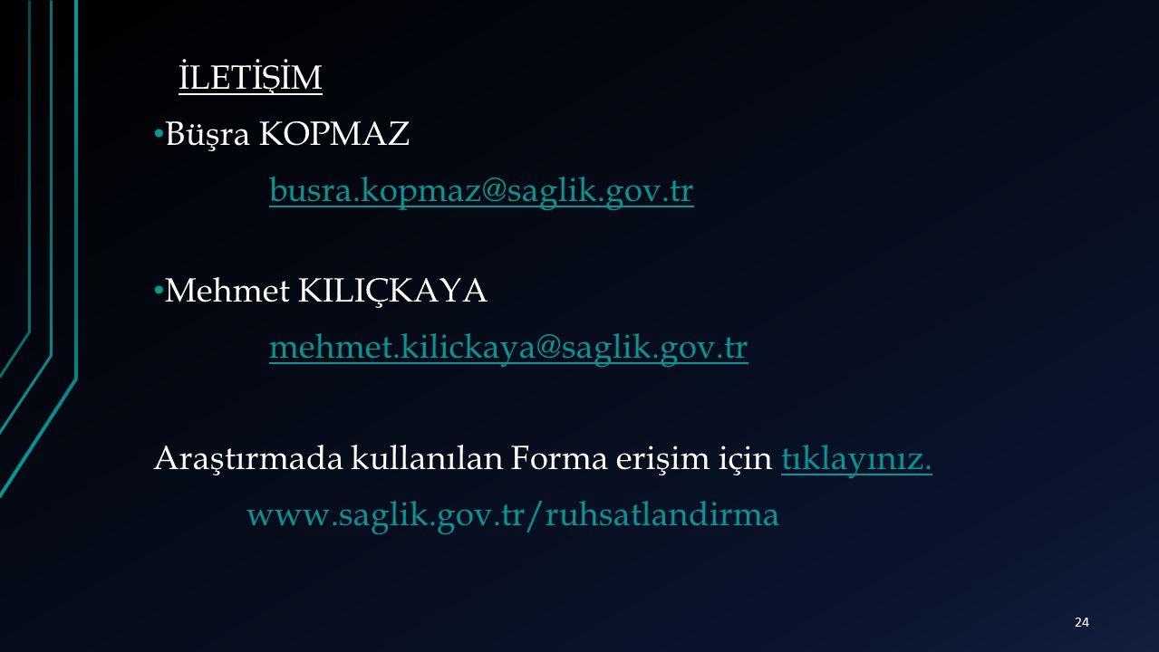 İLETİŞİM Büşra KOPMAZ busra.kopmaz@saglik.gov.tr Mehmet KILIÇKAYA mehmet.kilickaya@saglik.gov.tr Araştırmada kullanılan Forma erişim için tıklayınız.t