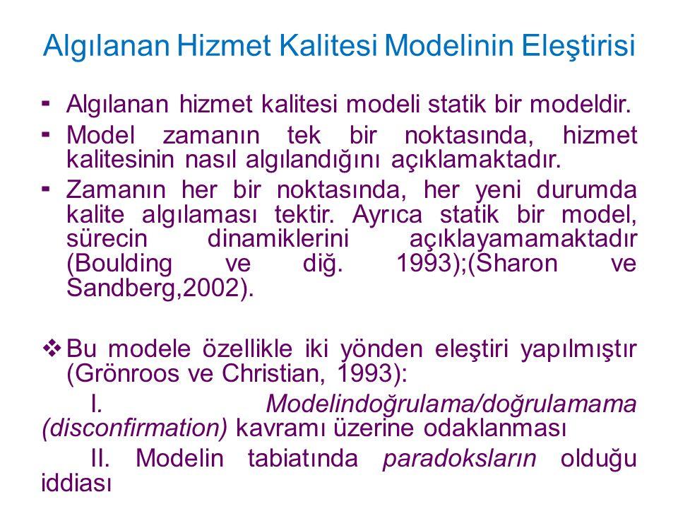 Algılanan Hizmet Kalitesi Modelinin Eleştirisi  Algılanan hizmet kalitesi modeli statik bir modeldir.  Model zamanın tek bir noktasında, hizmet kali