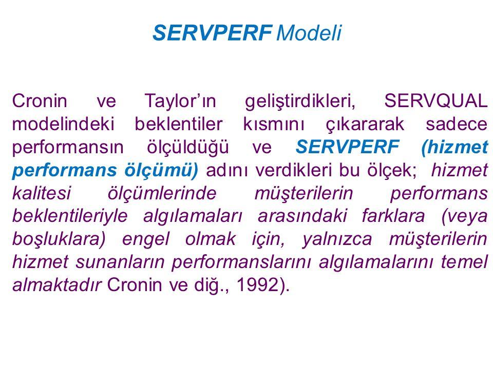 SERVPERF Modeli Cronin ve Taylor'ın geliştirdikleri, SERVQUAL modelindeki beklentiler kısmını çıkararak sadece performansın ölçüldüğü ve SERVPERF (hiz