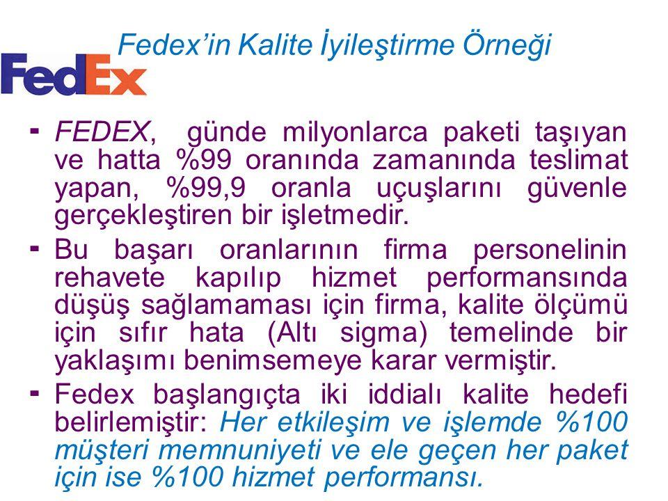 Fedex'in Kalite İyileştirme Örneği  FEDEX, günde milyonlarca paketi taşıyan ve hatta %99 oranında zamanında teslimat yapan, %99,9 oranla uçuşlarını g