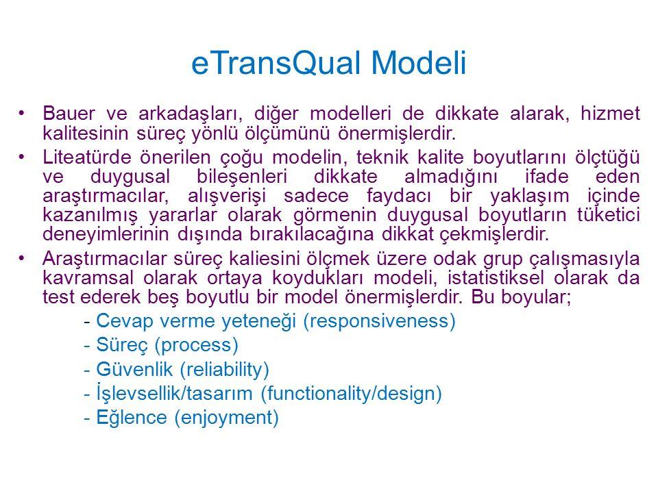 eTransQual Modeli Bauer ve arkadaşları, diğer modelleri de dikkate alarak, hizmet kalitesinin süreç yönlü ölçümünü önermişlerdir. Liteatürde önerilen