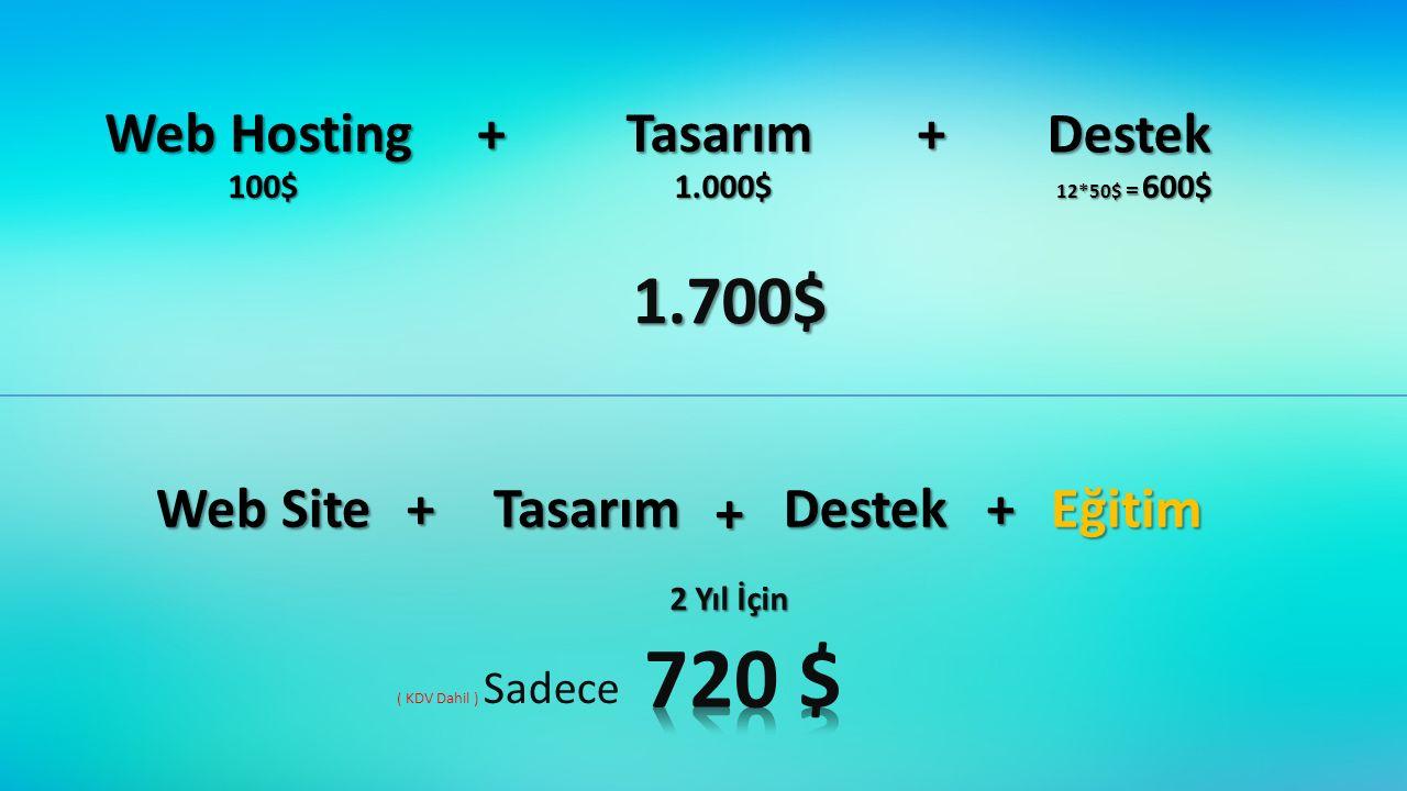 Web Hosting Tasarım Destek 100$1.000$ 12*50$ = 600$ 1.700$ Web Site TasarımDestekEğitim 2 Yıl İçin ( KDV Dahil ) Sadece ++ + + +