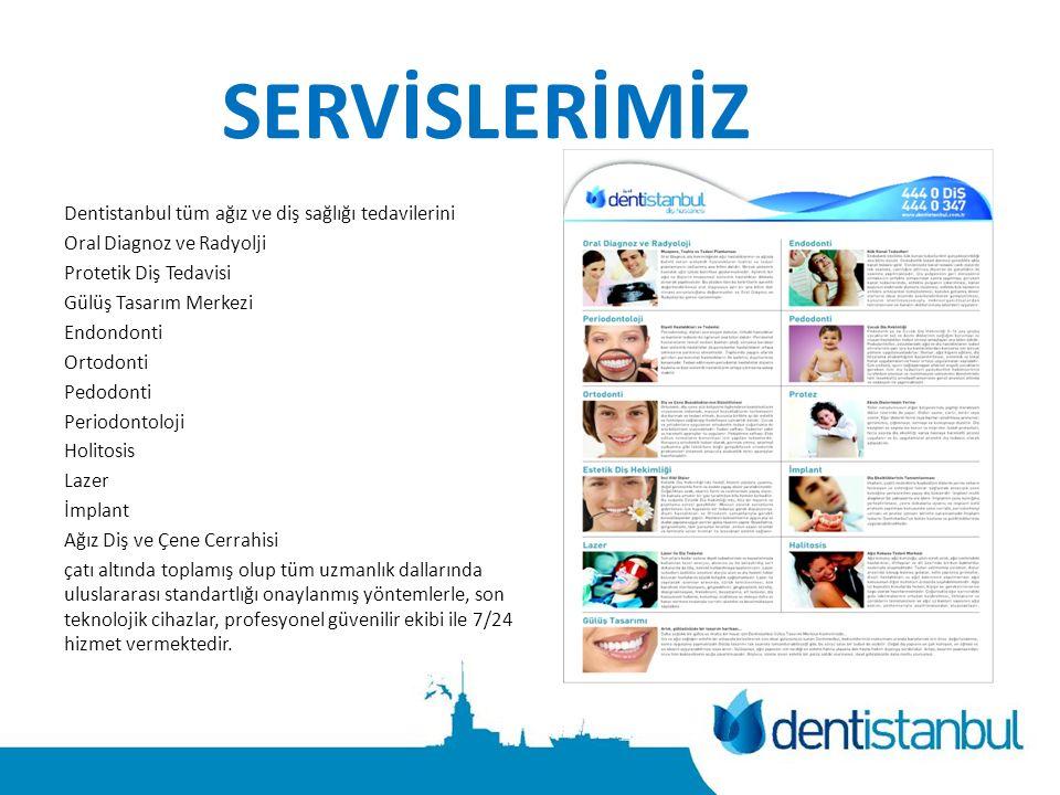 SERVİSLERİMİZ Dentistanbul tüm ağız ve diş sağlığı tedavilerini Oral Diagnoz ve Radyolji Protetik Diş Tedavisi Gülüş Tasarım Merkezi Endondonti Ortodonti Pedodonti Periodontoloji Holitosis Lazer İmplant Ağız Diş ve Çene Cerrahisi çatı altında toplamış olup tüm uzmanlık dallarında uluslararası standartlığı onaylanmış yöntemlerle, son teknolojik cihazlar, profesyonel güvenilir ekibi ile 7/24 hizmet vermektedir.