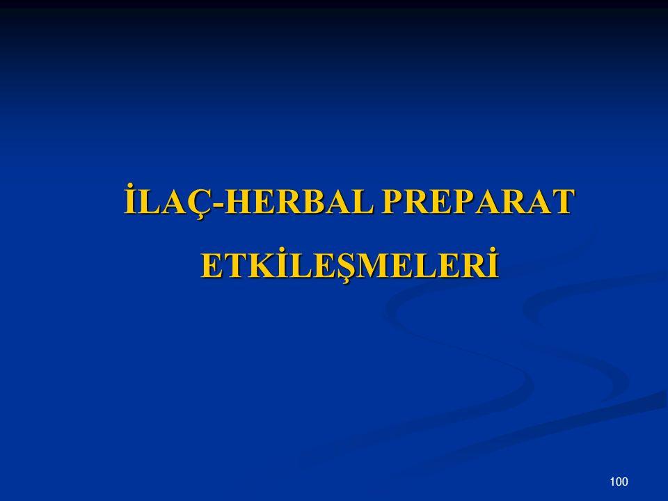 100 İLAÇ-HERBAL PREPARAT ETKİLEŞMELERİ