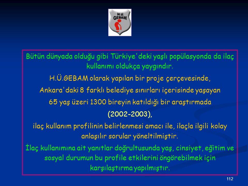 112 Bütün dünyada olduğu gibi Türkiye'deki yaşlı popülasyonda da ilaç kullanımı oldukça yaygındır. H.Ü.GEBAM olarak yapılan bir proje çerçevesinde, An