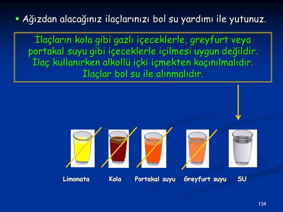 134 Limonata Kola Portakal suyu Greyfurt suyu SU Limonata Kola Portakal suyu Greyfurt suyu SU İlaçların kola gibi gazlı içeceklerle, greyfurt veya por