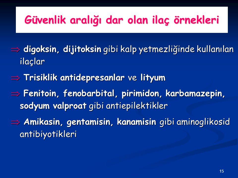15 Güvenlik aralığı dar olan ilaç örnekleri Þ digoksin, dijitoksin gibi kalp yetmezliğinde kullanılan ilaçlar Þ Trisiklik antidepresanlar ve lityum Þ