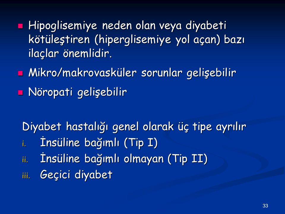 33 Hipoglisemiye neden olan veya diyabeti kötüleştiren (hiperglisemiye yol açan) bazı ilaçlar önemlidir. Hipoglisemiye neden olan veya diyabeti kötüle