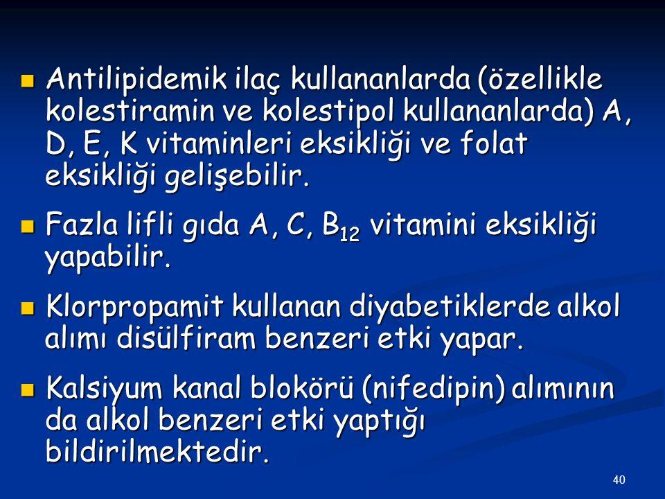 40 Antilipidemik ilaç kullananlarda (özellikle kolestiramin ve kolestipol kullananlarda) A, D, E, K vitaminleri eksikliği ve folat eksikliği gelişebil