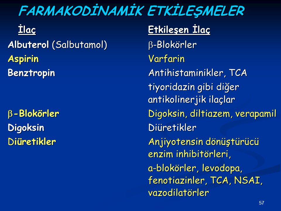 57 FARMAKODİNAMİK ETKİLEŞMELER İlaçEtkileşen İlaç Albuterol (Salbutamol)  -Blokörler AspirinVarfarin BenztropinAntihistaminikler, TCA tiyoridazin gib