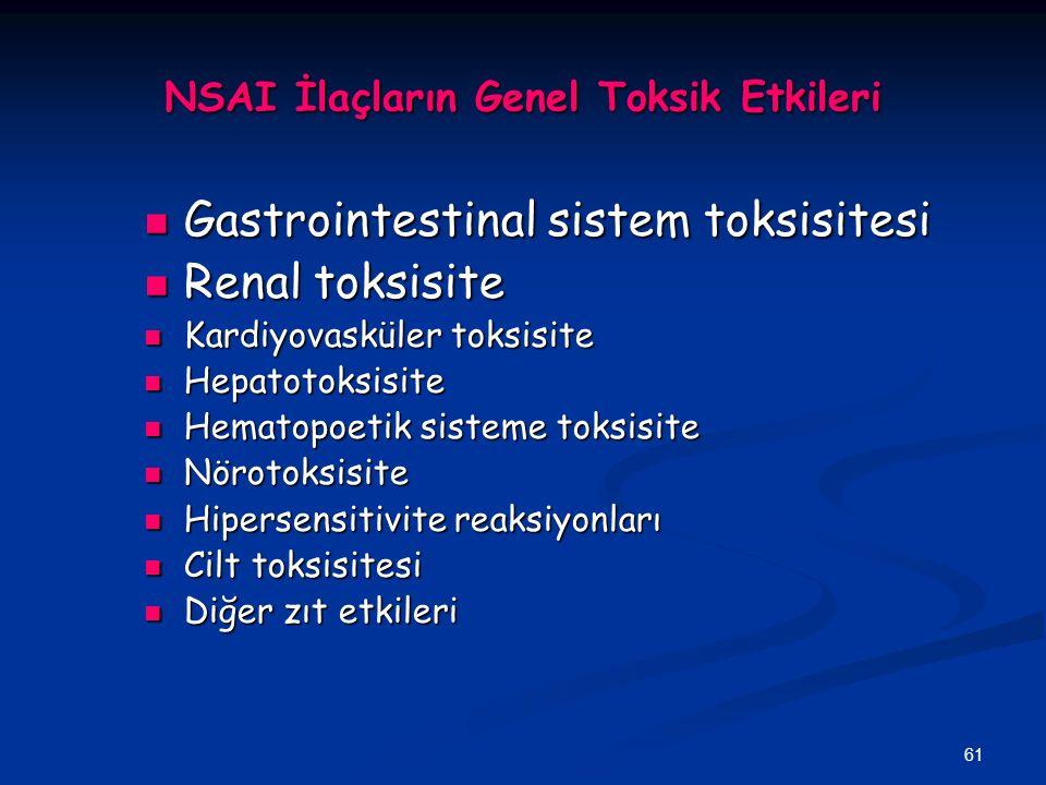 61 NSAI İlaçların Genel Toksik Etkileri Gastrointestinal sistem toksisitesi Gastrointestinal sistem toksisitesi Renal toksisite Renal toksisite Kardiy