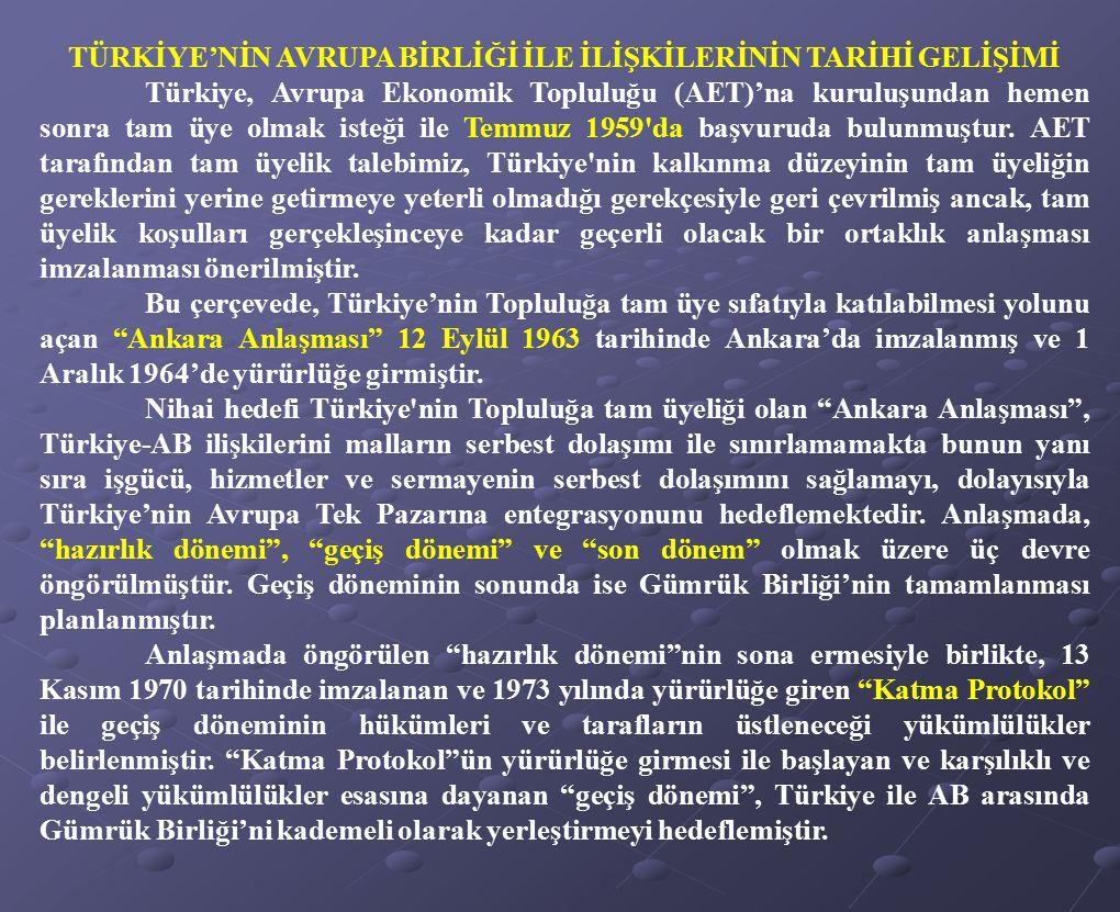 TÜRKİYE'NİN AVRUPA BİRLİĞİ İLE İLİŞKİLERİNİN TARİHİ GELİŞİMİ Türkiye, Avrupa Ekonomik Topluluğu (AET)'na kuruluşundan hemen sonra tam üye olmak isteği