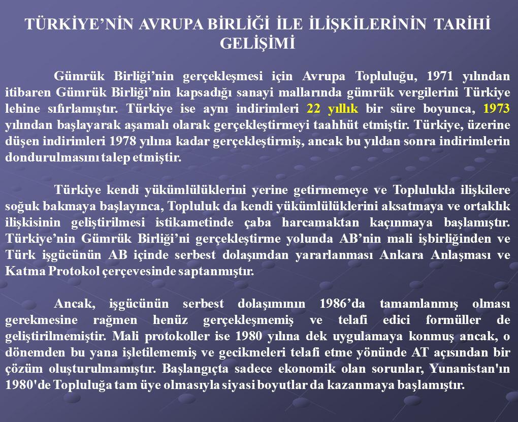 TÜRKİYE'NİN AVRUPA BİRLİĞİ İLE İLİŞKİLERİNİN TARİHİ GELİŞİMİ Gümrük Birliği'nin gerçekleşmesi için Avrupa Topluluğu, 1971 yılından itibaren Gümrük Bir