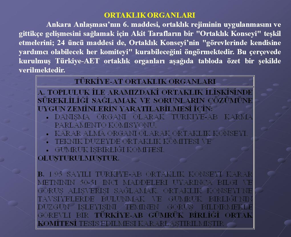 ORTAKLIK ORGANLARI Ankara Anlaşması'nın 6. maddesi, ortaklık rejiminin uygulanmasını ve gittikçe gelişmesini sağlamak için Akit Tarafların bir