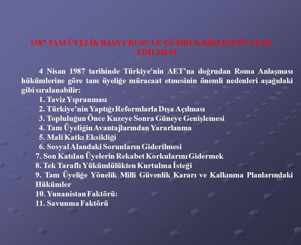 1987 TAM ÜYELİK BAŞVURUSU VE GÜMRÜK BİRLİĞİNİN TESİS EDİLMESİ 4 Nisan 1987 tarihinde Türkiye'nin AET'na doğrudan Roma Anlaşması hükümlerine göre tam ü