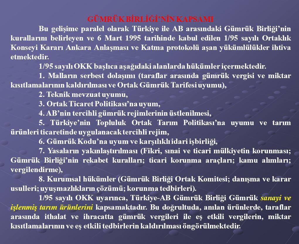 GÜMRÜK BİRLİĞİ'NİN KAPSAMI Bu gelişime paralel olarak Türkiye ile AB arasındaki Gümrük Birliği'nin kurallarını belirleyen ve 6 Mart 1995 tarihinde kab