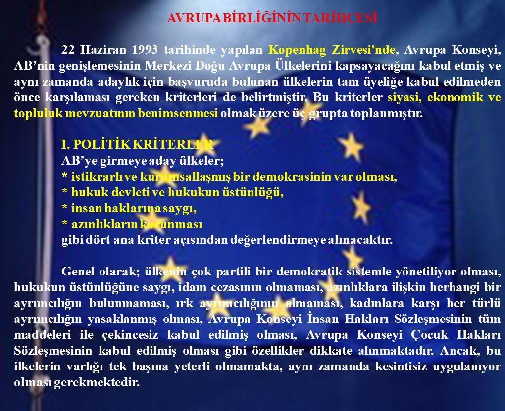 AVRUPA BİRLİĞİNİN TARİHÇESİ 22 Haziran 1993 tarihinde yapılan Kopenhag Zirvesi'nde, Avrupa Konseyi, AB'nin genişlemesinin Merkezi Doğu Avrupa Ülkeleri