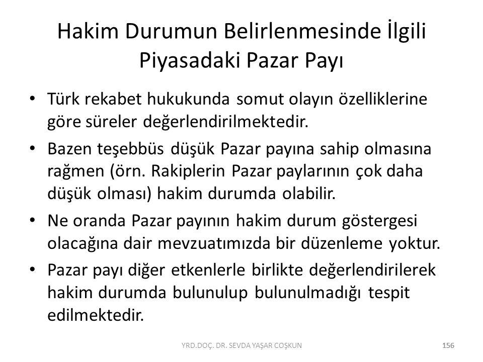 156 Hakim Durumun Belirlenmesinde İlgili Piyasadaki Pazar Payı Türk rekabet hukukunda somut olayın özelliklerine göre süreler değerlendirilmektedir. B