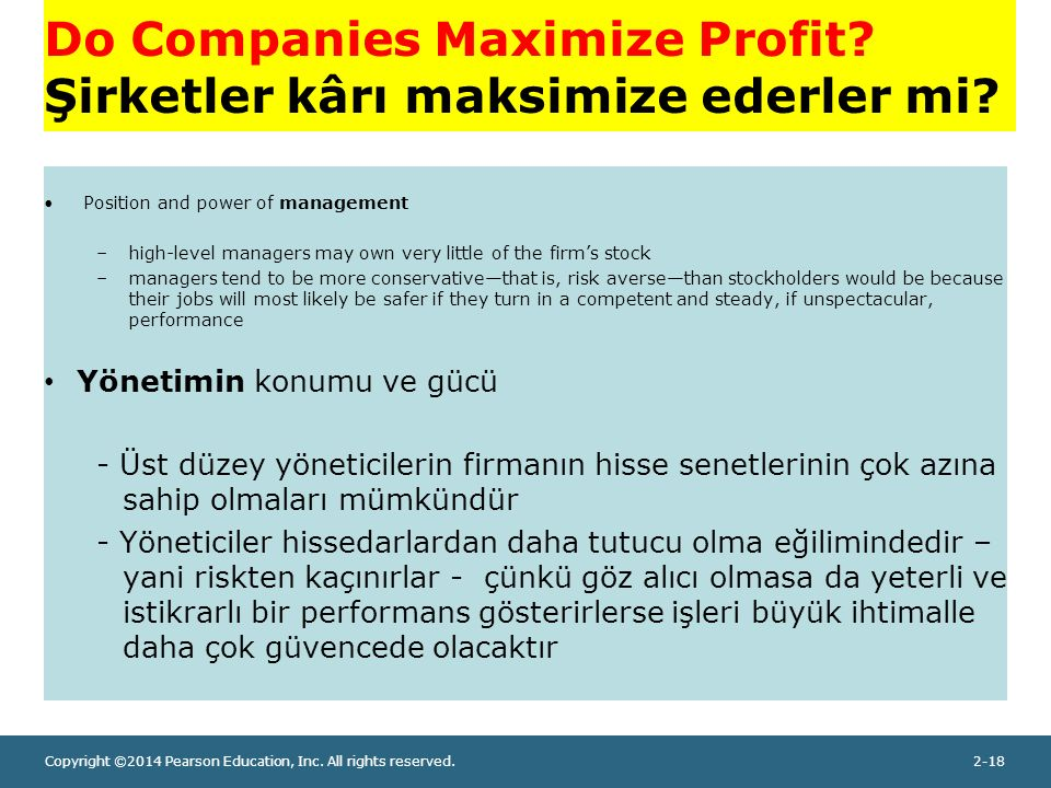 Copyright ©2014 Pearson Education, Inc. All rights reserved.2-18 Do Companies Maximize Profit.