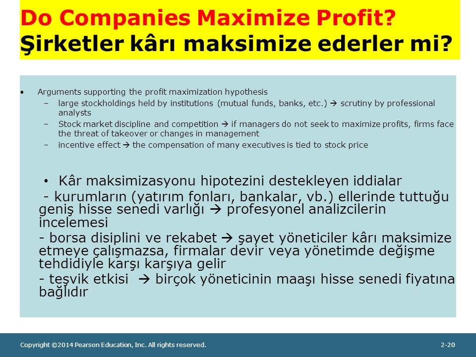Copyright ©2014 Pearson Education, Inc. All rights reserved.2-20 Do Companies Maximize Profit.
