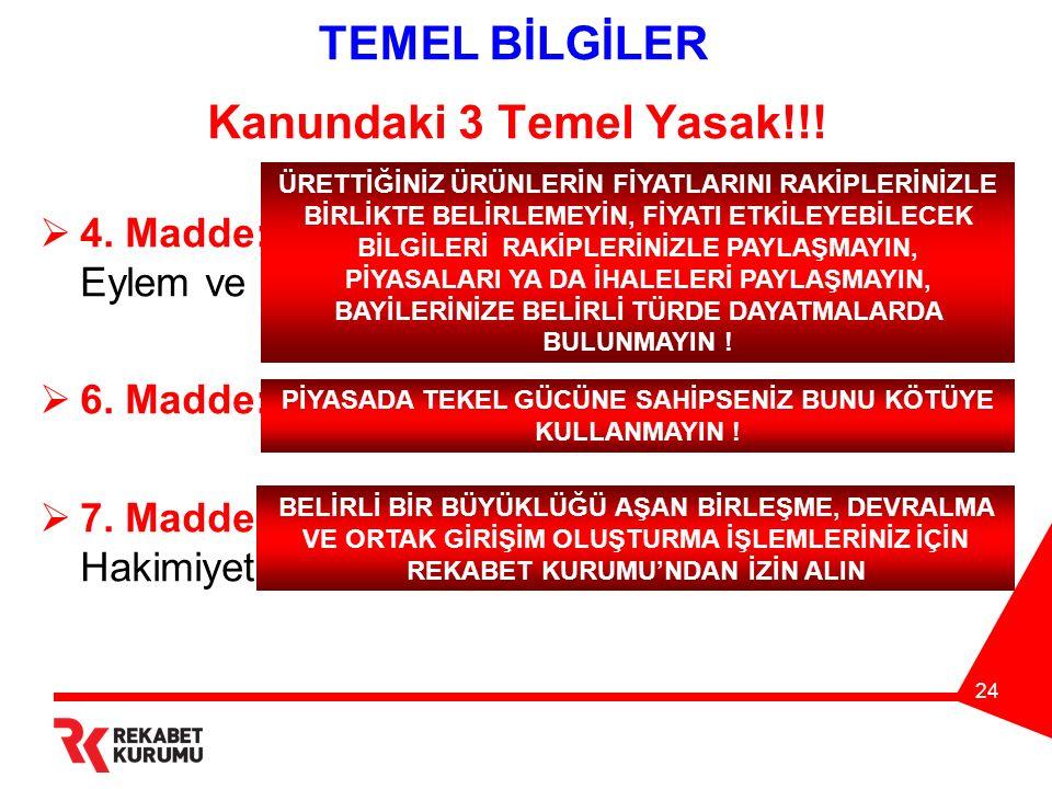 24 TEMEL BİLGİLER Kanundaki 3 Temel Yasak!!.  4.