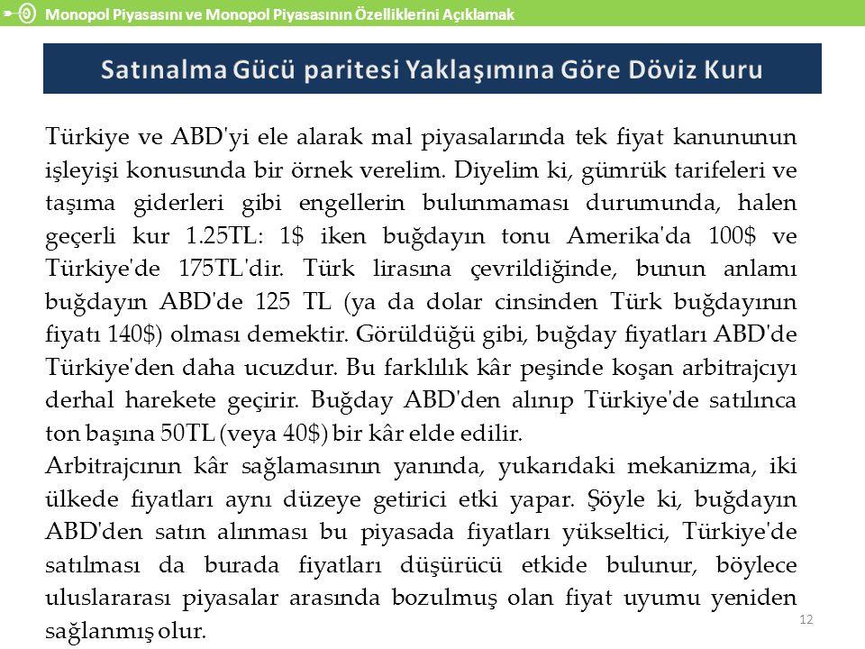 Monopol Piyasasını ve Monopol Piyasasının Özelliklerini Açıklamak 12 Türkiye ve ABD yi ele alarak mal piyasalarında tek fiyat kanununun işleyişi konusunda bir örnek verelim.