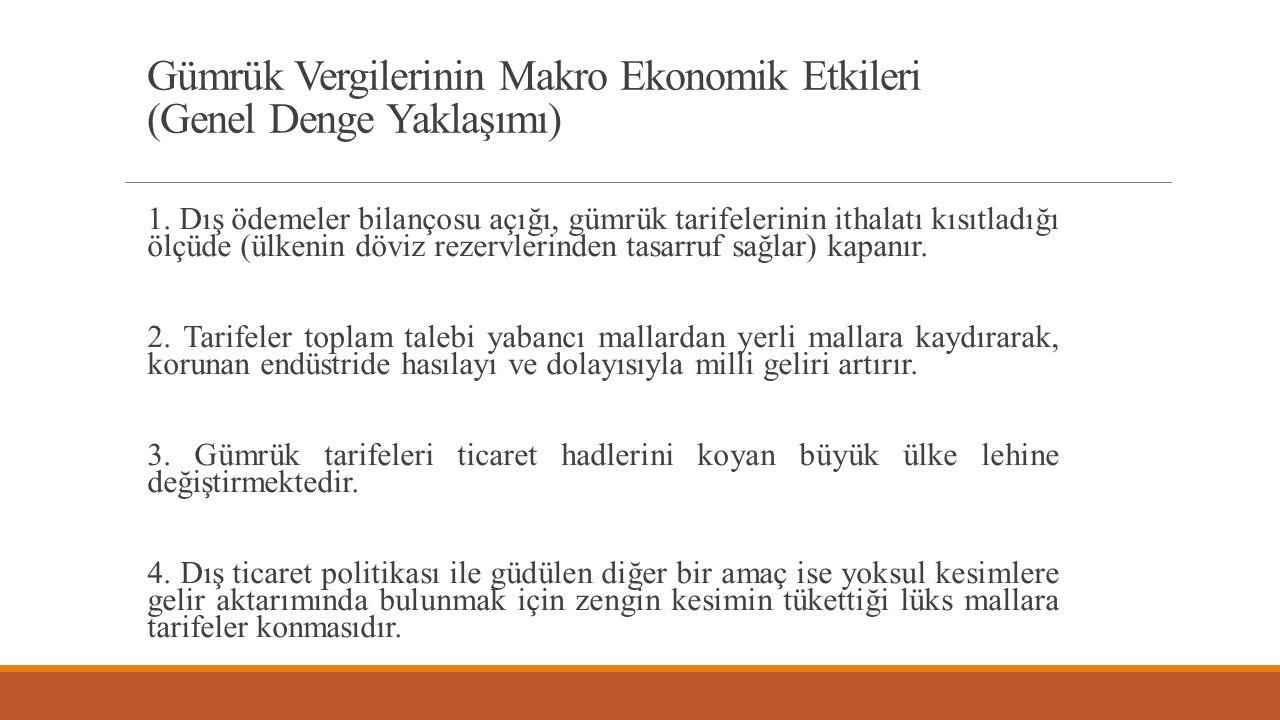 Gümrük Vergilerinin Makro Ekonomik Etkileri (Genel Denge Yaklaşımı) 1.
