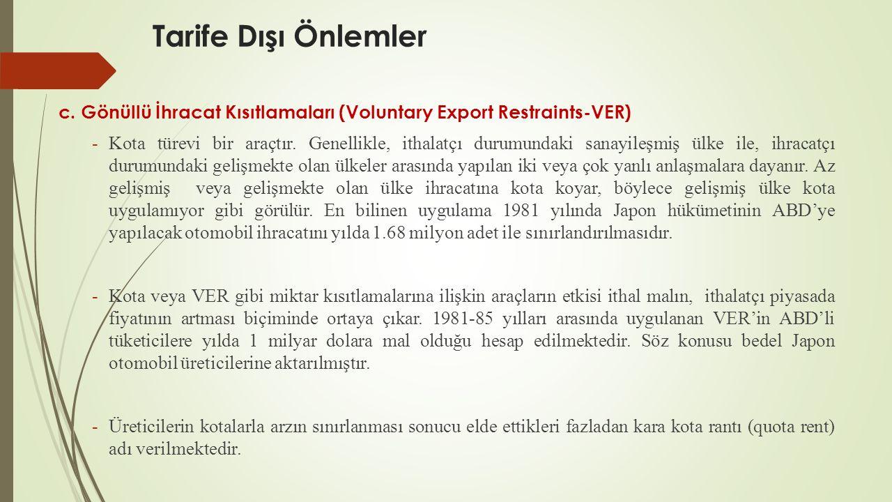 Tarife Dışı Önlemler c. Gönüllü İhracat Kısıtlamaları (Voluntary Export Restraints-VER) -Kota türevi bir araçtır. Genellikle, ithalatçı durumundaki sa