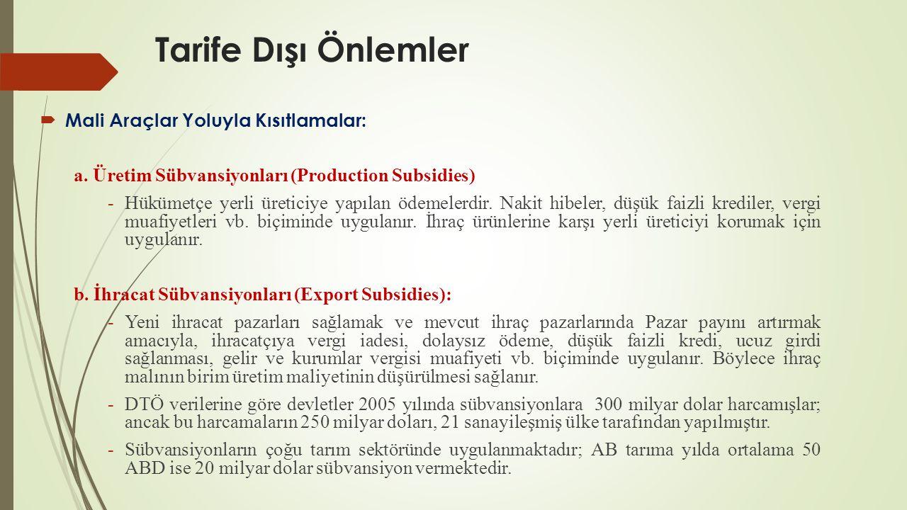 Tarife Dışı Önlemler  Mali Araçlar Yoluyla Kısıtlamalar: a. Üretim Sübvansiyonları (Production Subsidies) -Hükümetçe yerli üreticiye yapılan ödemeler
