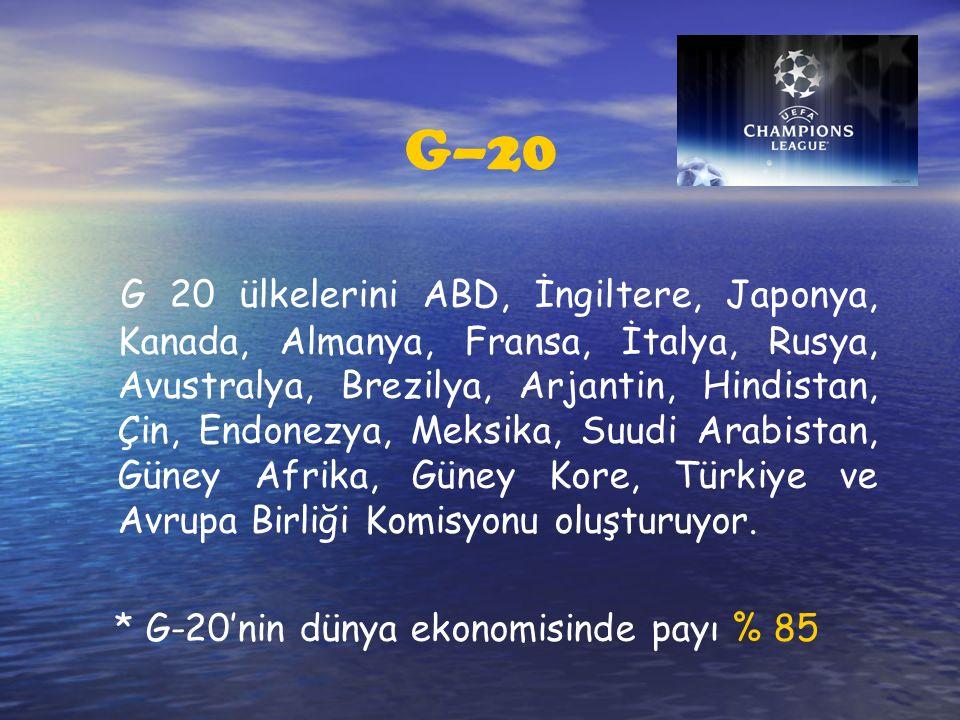 G–20 G 20 ülkelerini ABD, İngiltere, Japonya, Kanada, Almanya, Fransa, İtalya, Rusya, Avustralya, Brezilya, Arjantin, Hindistan, Çin, Endonezya, Meksika, Suudi Arabistan, Güney Afrika, Güney Kore, Türkiye ve Avrupa Birliği Komisyonu oluşturuyor.