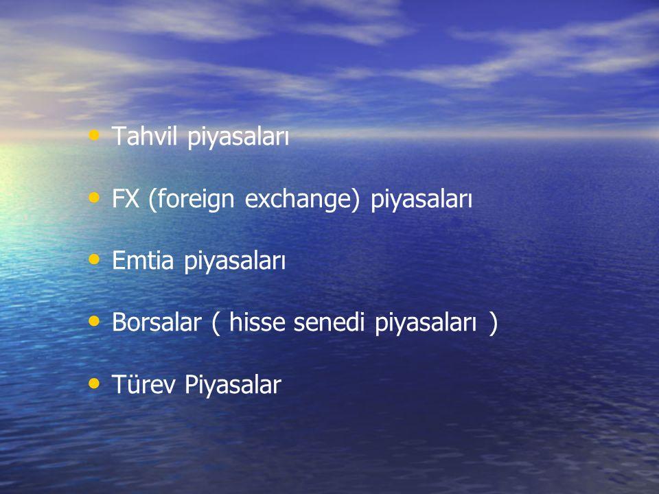 Tahvil piyasaları FX (foreign exchange) piyasaları Emtia piyasaları Borsalar ( hisse senedi piyasaları ) Türev Piyasalar