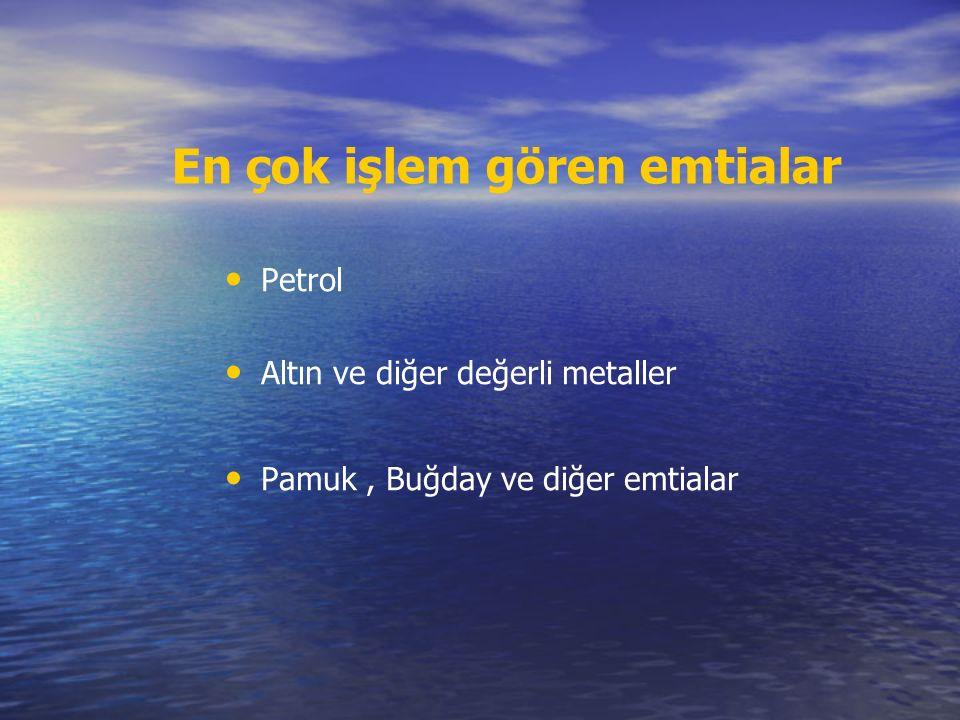 En çok işlem gören emtialar Petrol Altın ve diğer değerli metaller Pamuk, Buğday ve diğer emtialar