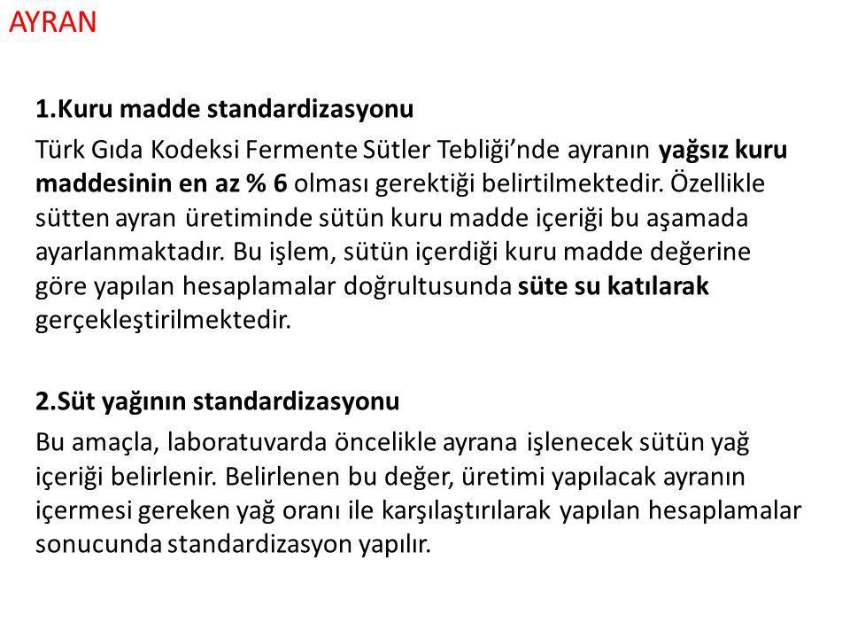 AYRAN 1.Kuru madde standardizasyonu Türk Gıda Kodeksi Fermente Sütler Tebliği'nde ayranın yağsız kuru maddesinin en az % 6 olması gerektiği belirtilme